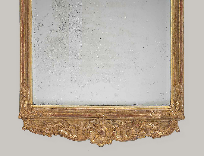Mid 18th Century Carved Giltwood Looking Glass M Ford