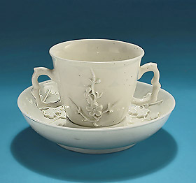 Bow Porcelain While Chocolate Cup and Saint-Cloud White Trembleuse Saucer