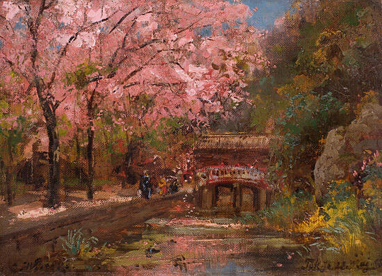 Carl Wuttke,Park in Tokoyo During the Cherry Blossoms, oil on canvas, 1898