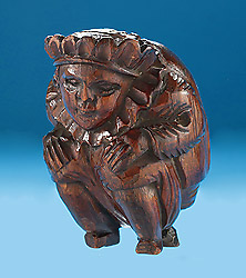 18th Century Carved Crowned Hunchback with Ruff, possibly Richard III