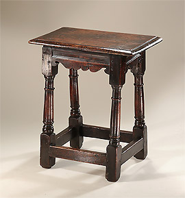 Charles I Oak Joint Stool, England, c1620