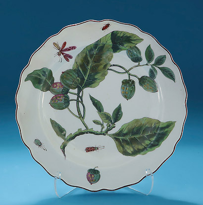 Chelsea Brown Anchor 'Hans Sloane' Plate, Loganberry Leaves & Fruits, London, c1756