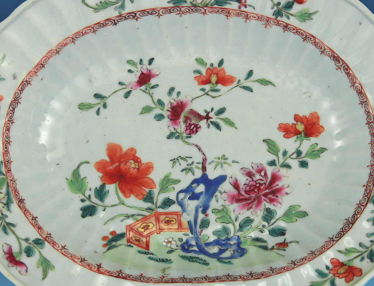 CHINESE EXPORT FAMILLE ROSE BARBER'S BOWL, c1765, provenance, Elinor Gordon