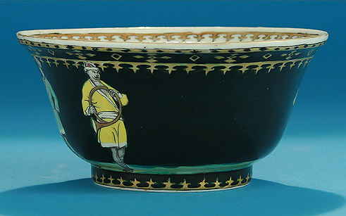Rare Chinese Export Black Ground Quot Trumpeter Quot Waste Bowl
