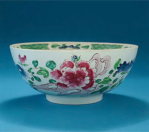 Rare Early Bow Famille Rose Large Punch Bowl, England, c1753