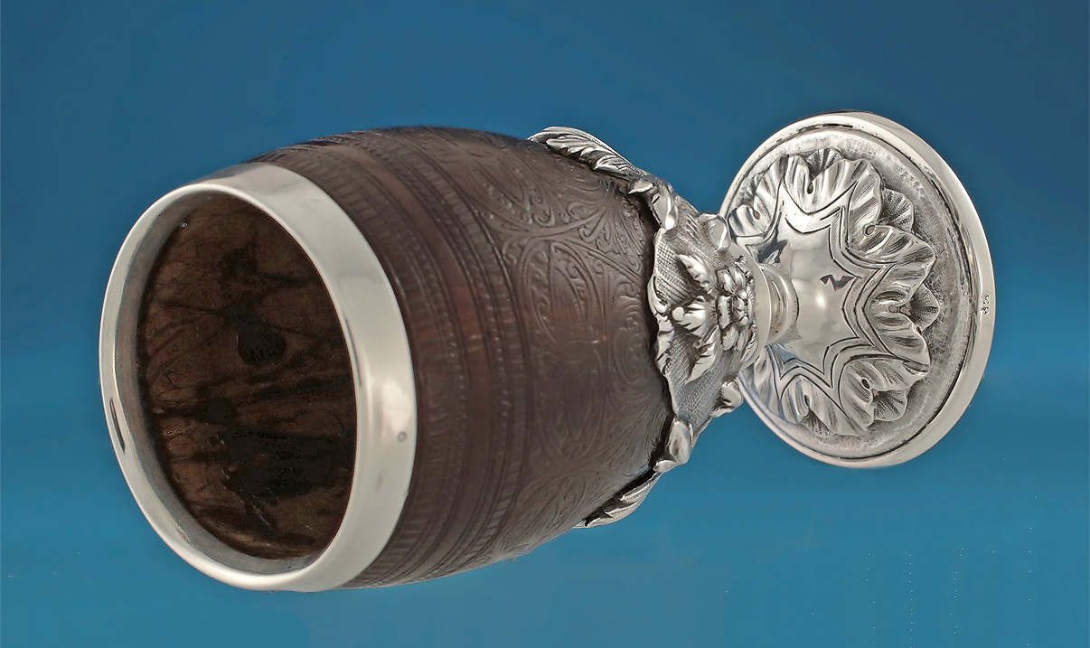 Good Early Victorian Silver Mounted Coconut Cup M Ford