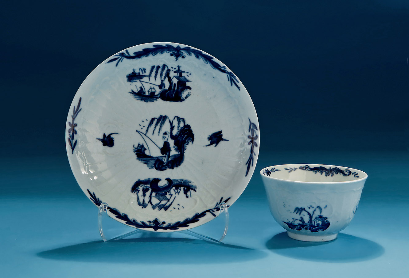 Good Early Worcester Moulded Teabowl & Saucer, Fisherman & Willow Pattern, Exhibition Paul Zeisler Collection of English Blue & White Porcelain, 1986