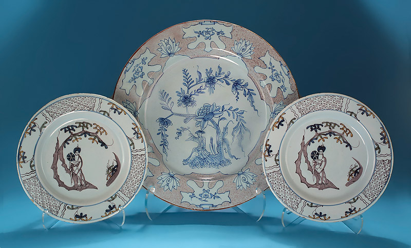 "Good English Delft Manganese & Blue ""Woolsack"" Charger, with Pair of Bristol Manganese & Polychrome Delft Plates"