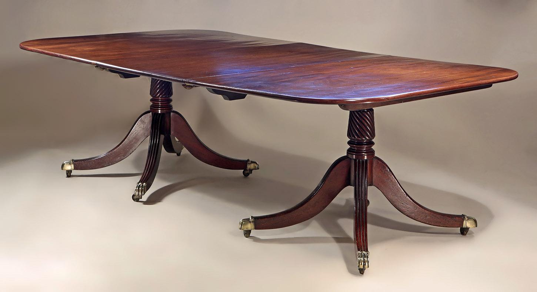 Fine George Iii Cuban Mahogany 2 Pedestal Dining Table