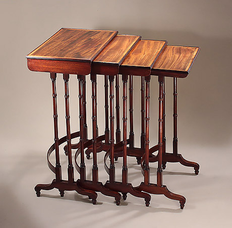 George III Rosewood & Mahogany Set of Quartetto Tables, England, c1810, in the manner of George Smith