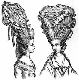 "The "" commode "" coiffure is the English counterpart of the French Loge d'Opera and other monstrosities. So high was it worn, that fashionable ladies were obliged, in travelling, to lean out of their coaches."
