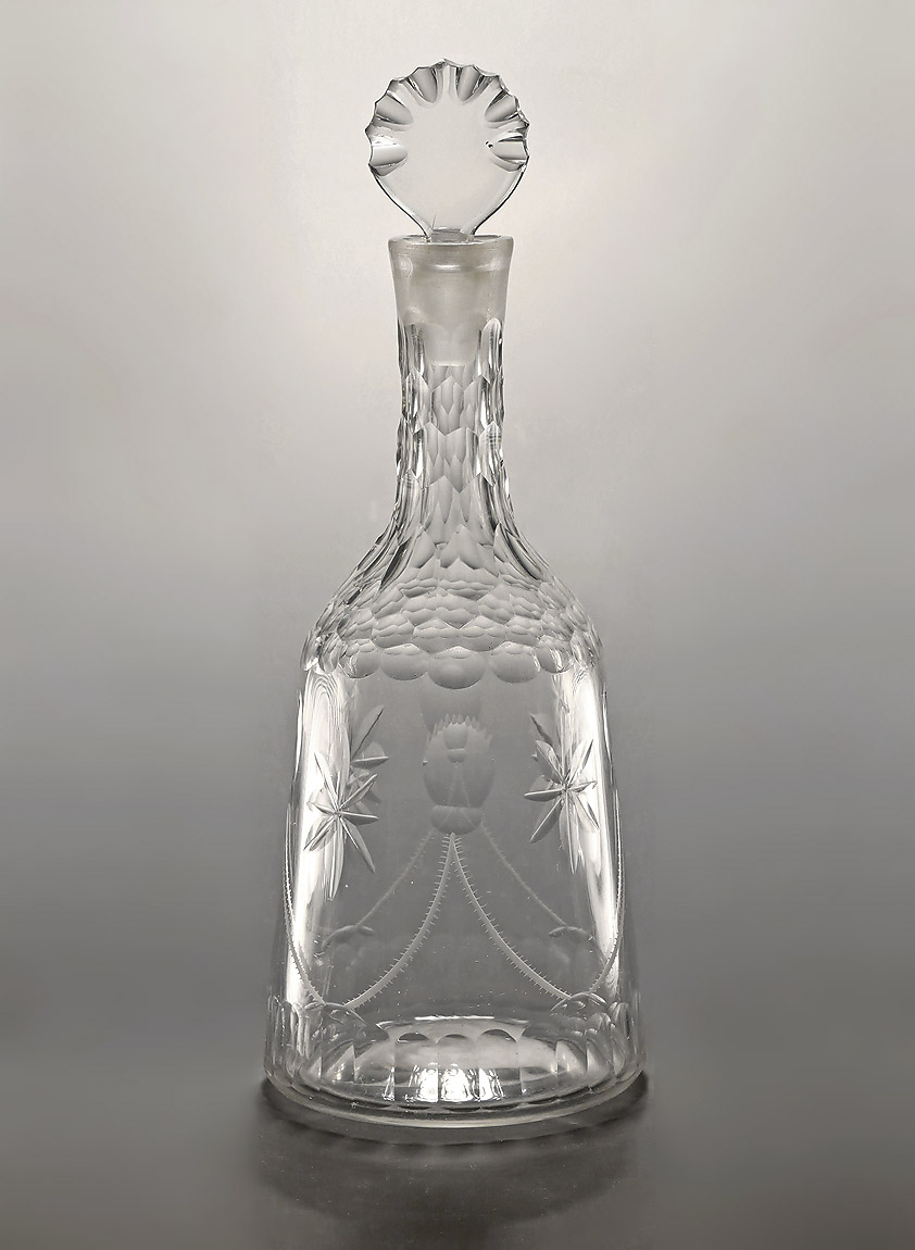 GEORGE III CUT GLASS MALLET FORM DECANTER, England, c1770 ...