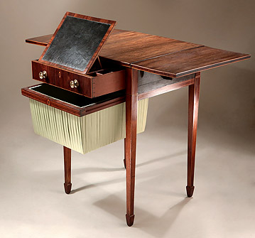 Fine George III Inlaid Rosewood Work & Writing Table, England c1795