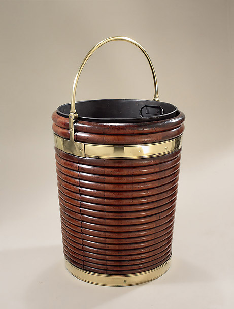 George II Irish Large Mahogany Brass Bound and Ribbed Peat Bucket