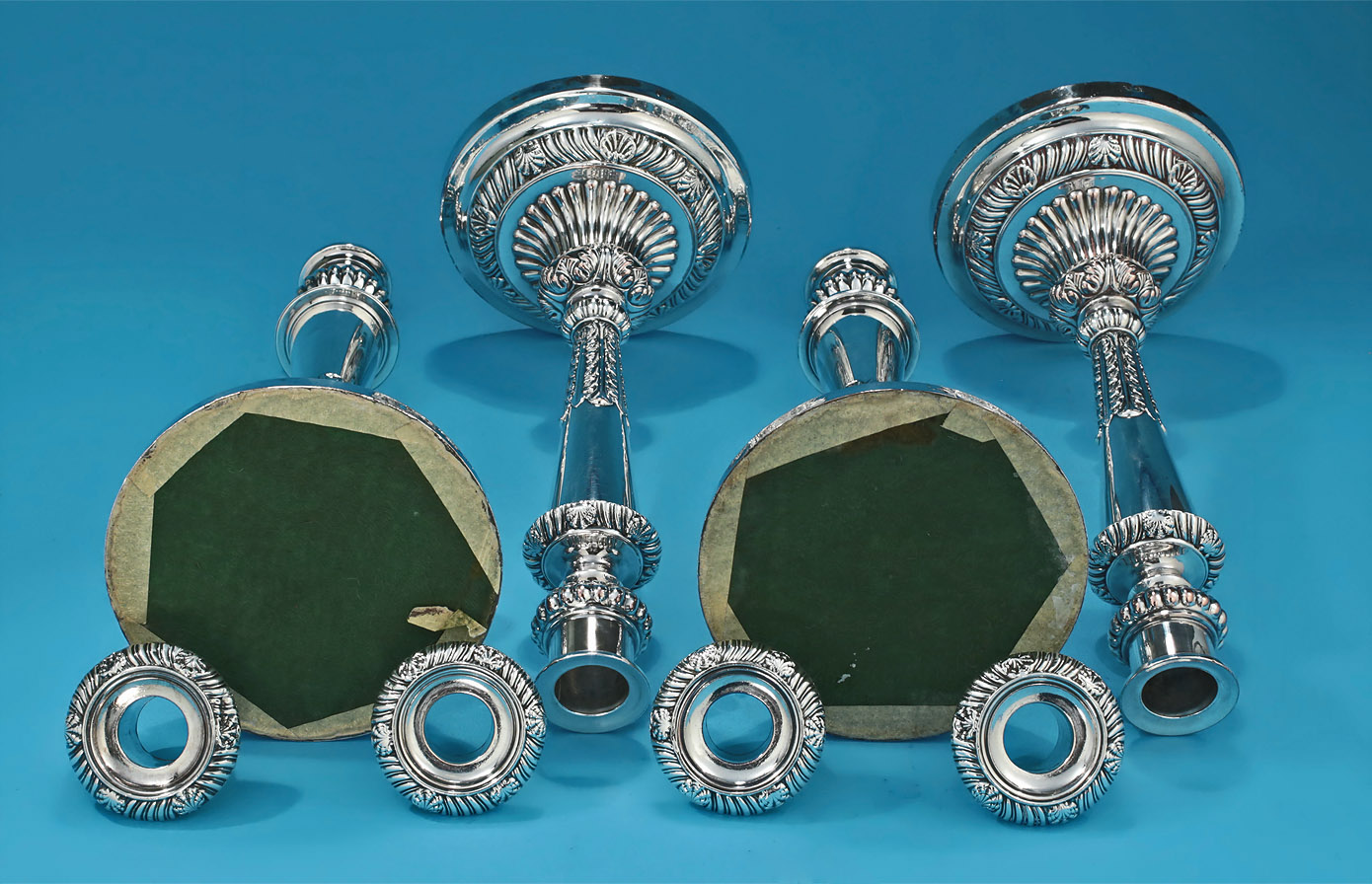 George III Set of Old Sheffield Plate Candelabra & Candlesticks, Matthew Boulton, c1810, verso details