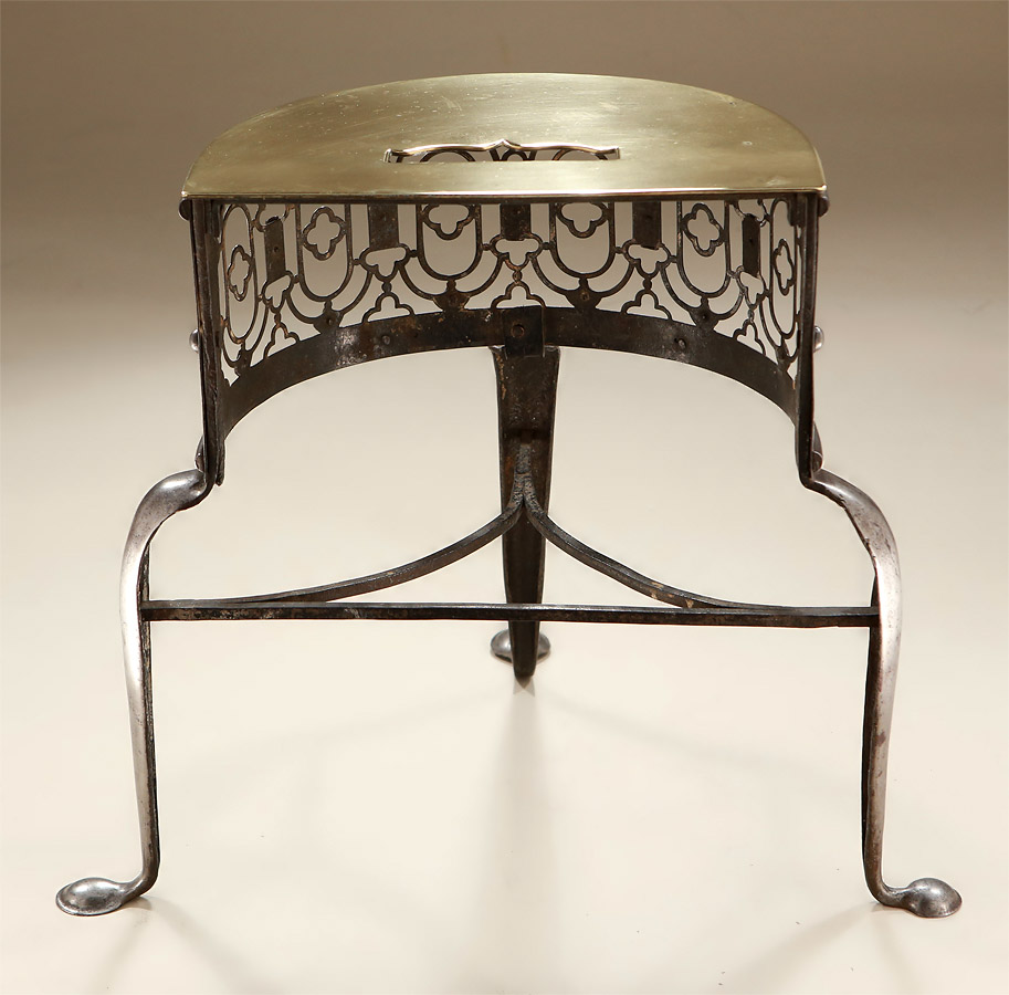 George II Steel & Brass Demi-Lune Fireplace Trivet (Footman), Back