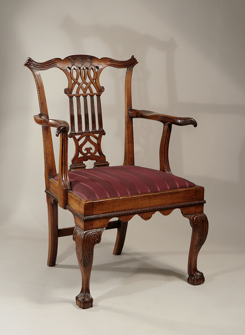 GEORGE II UNUSUALLY CARVED FRUITWOOD OPEN ARMCHAIR, England (probably North  Country), C1735 40; M. Ford Creech Antiques U0026 Fine Arts, Memphis, TN