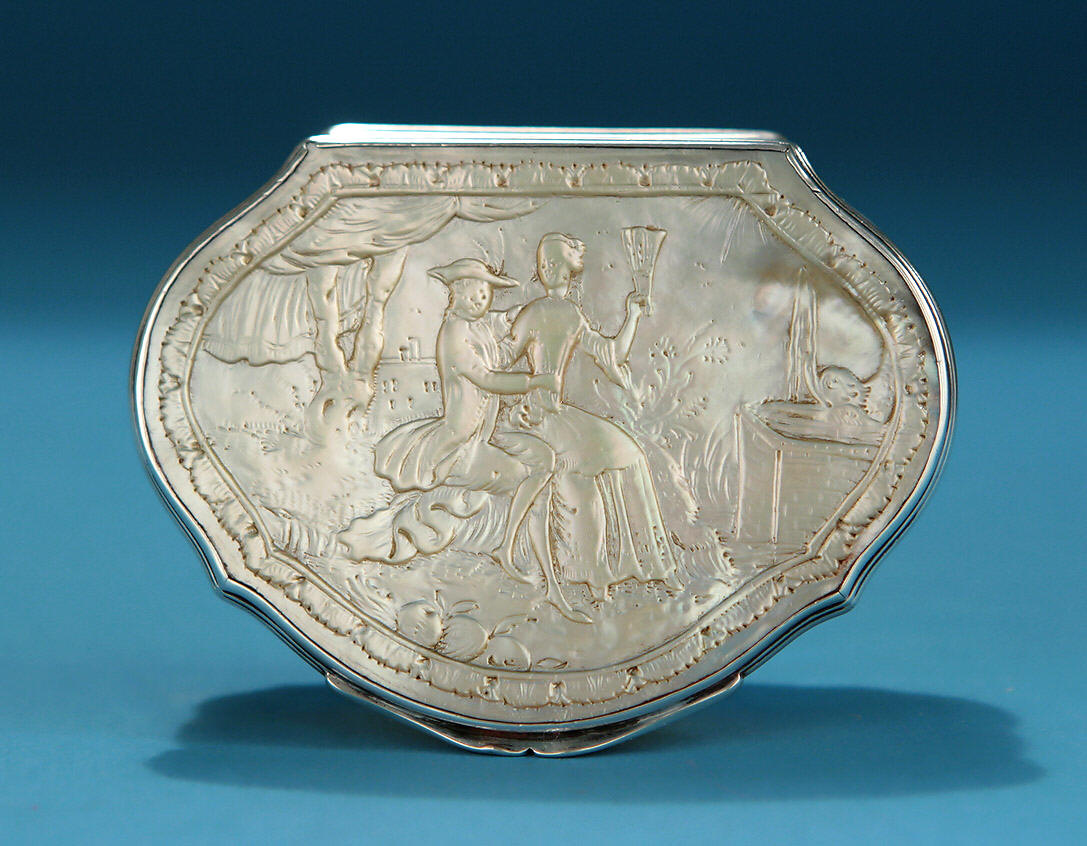 Silver And Carved Abalone Snuff Box