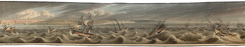 Stormy Seas Outside Calais, last scene in Costa Scena : A Cruise Along the Southern Coast of Kent, Strip Panorama, Scenes taken from nature by Robert Havell Jr., 1823