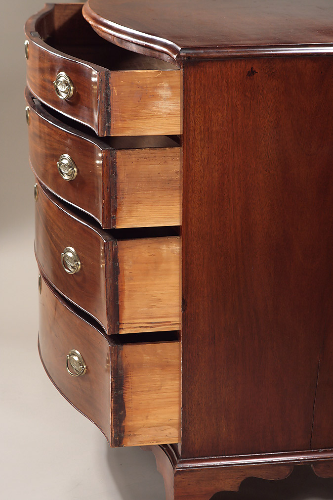Fine Mahogany Serpentine Chest Of Drawers New England
