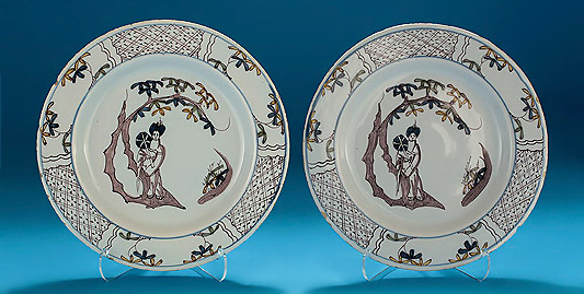 Pair of Bristol Manganese & Polychrome Delft Plates