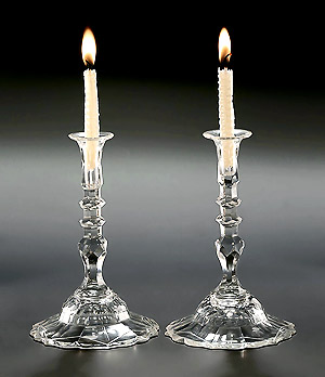 Rare Pair George III Facet-Cut Glass Tapersticks, England, c1760-70