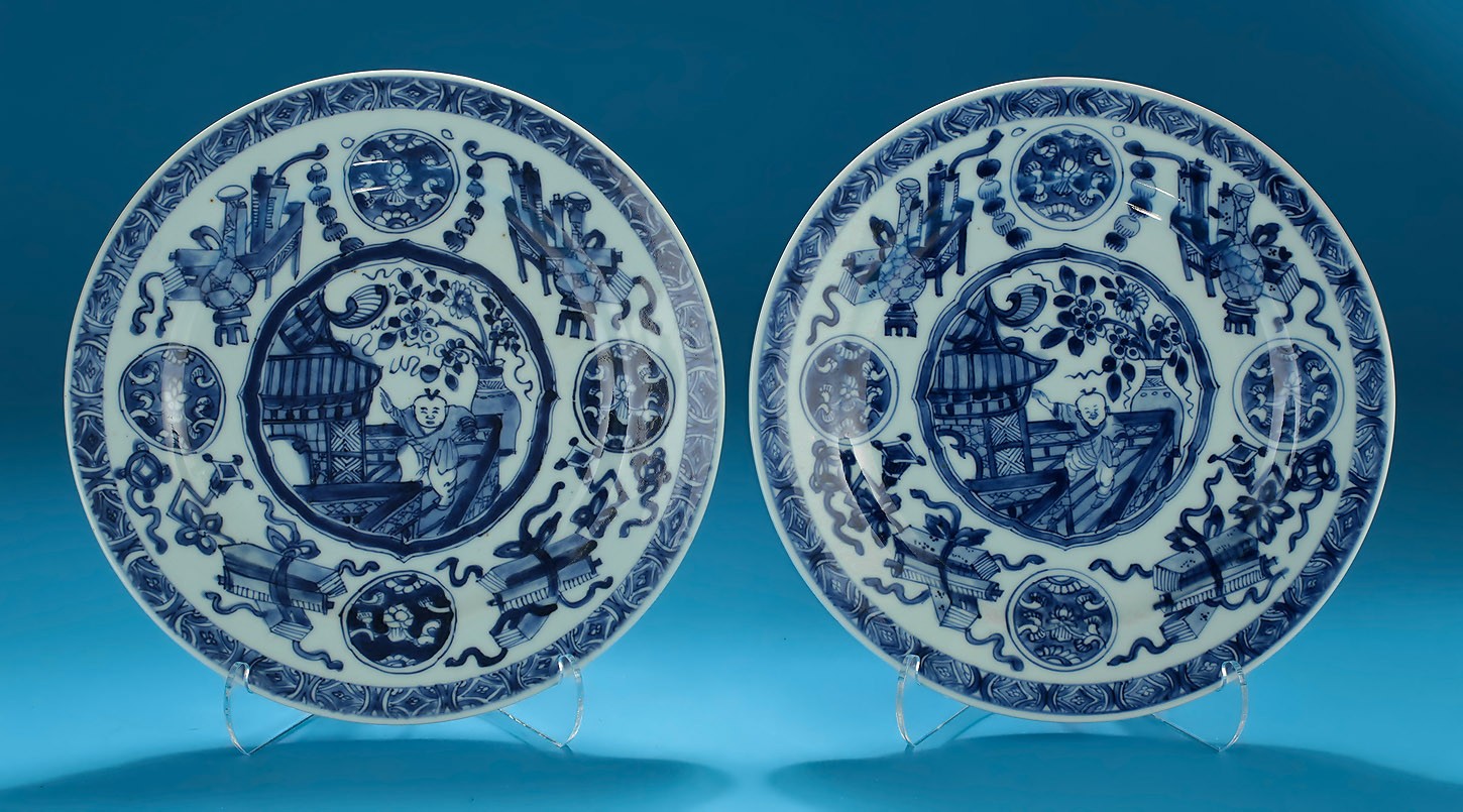 Pair of Kangxi Blue and White Porcelain Plates decorated with a Dancing Boy on a & PAIR OF KANGXI BLUE AND WHITE PORCELAIN PLATES China c1700; M ...