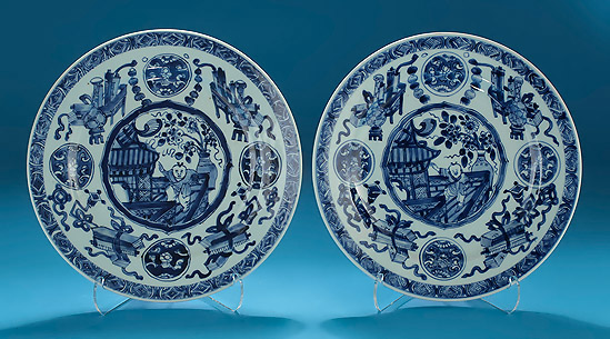 Pair of Kangxi Blue & White Plates