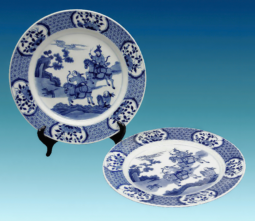 Pair of Kangxi Chinese Export  Hunting Scene  Blue u0026 White Plates; M. Ford Creech Antiques & Pair of Kangxi Chinese Export