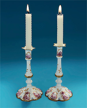 Rare Pair South Staffordshire Enamel on Copper Tapersticks, c1760-65
