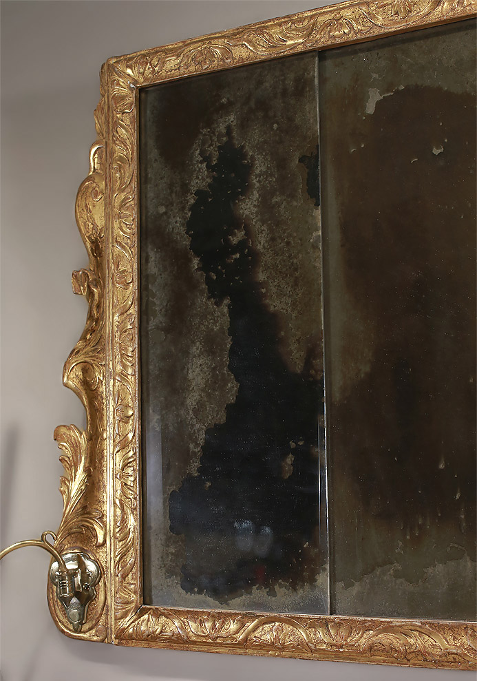 Queen Anne Carved Gesso & Giltwood Overmantle Mirror, c1710
