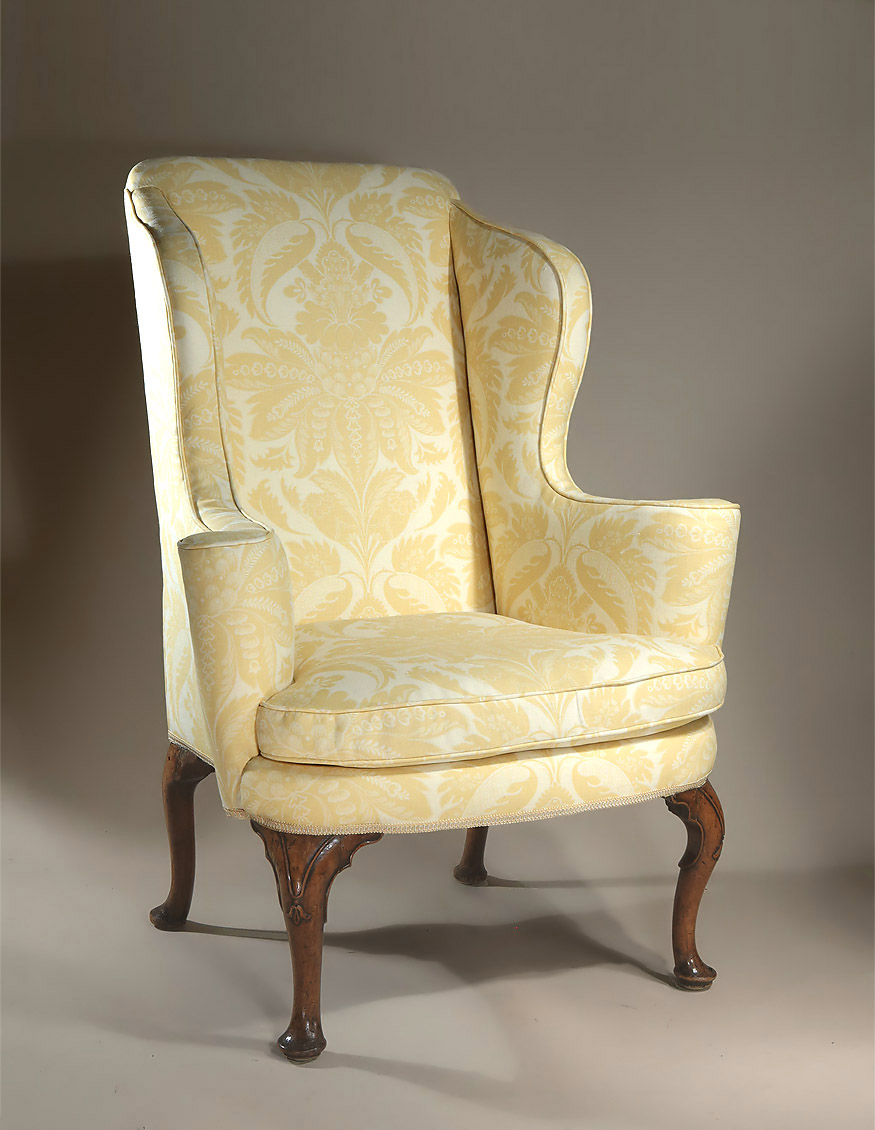 QUEEN ANNE  GEORGE I UPHOLSTERED WALNUT WING ARMCHAIR England  C17101715 M Ford Creech Antiques Queen Anne Armchair99