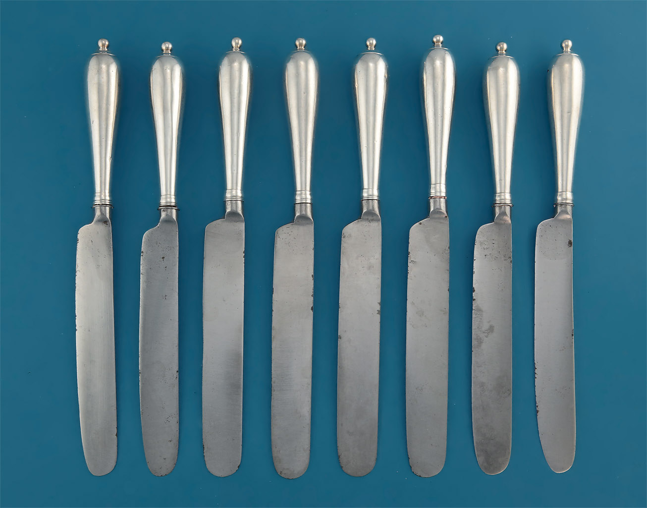 RARE SET OF SILVER CANNON-HANDLED CHEESE (DESSERT) KNIVES