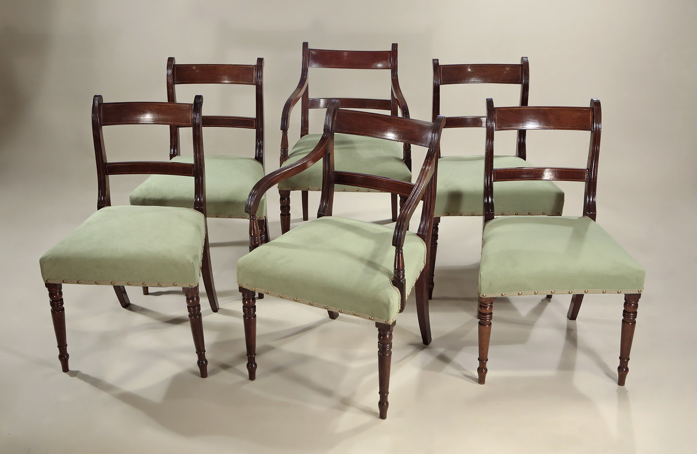 Set of Six Late Georgian Inlaid Mahogany Dining Chairs, England, c1815-20 - SET OF 6 LATE GEORGIAN INLAID MAHOGANY DINING CHAIRS, England, C1815