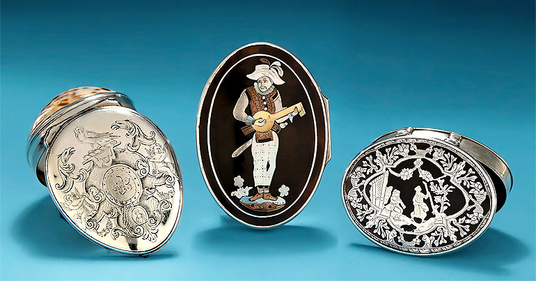 Three Fine Shell Snuff Boxes with Literature