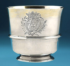 WILLIAM & MARY SILVER TOT CUP, Ralph Leake, London, 1695
