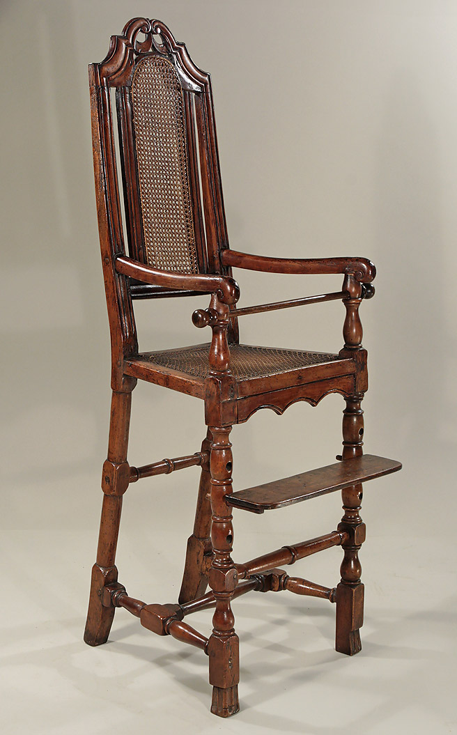 RARE WILLIAM & MARY WALNUT & YEWWOOD CANED CHILD'S HIGH CHAIR, c1695; M.  Ford Creech Antiques - RARE WILLIAM & MARY WALNUT & YEWWOOD CANED CHILD'S HIGH CHAIR, C1695